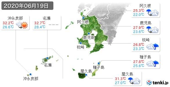 鹿児島県(2020年06月19日の天気