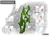 2020年06月20日の長野県の実況天気