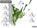 2020年06月20日の道東の実況天気