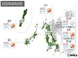 2020年06月20日の長崎県の実況天気