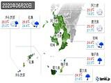 2020年06月20日の鹿児島県の実況天気
