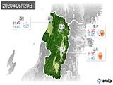 2020年06月20日の山形県の実況天気