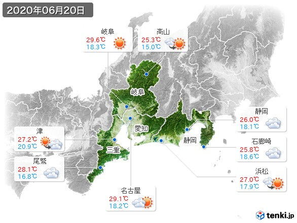 東海地方(2020年06月20日の天気