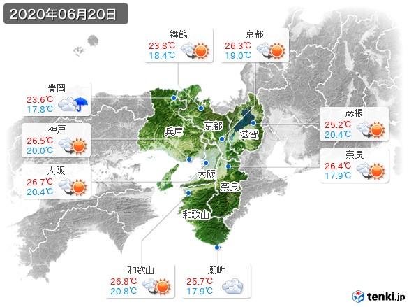 近畿地方(2020年06月20日の天気