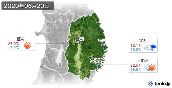 岩手県(2020年06月20日の天気