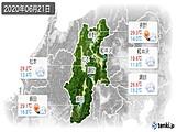 2020年06月21日の長野県の実況天気