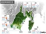 2020年06月21日の静岡県の実況天気