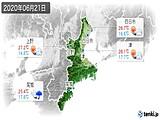 2020年06月21日の三重県の実況天気