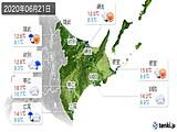 2020年06月21日の道東の実況天気