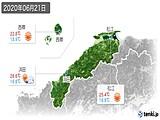 2020年06月21日の島根県の実況天気
