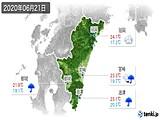 2020年06月21日の宮崎県の実況天気