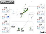 2020年06月21日の沖縄県の実況天気