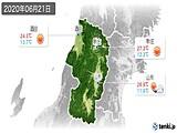 2020年06月21日の山形県の実況天気