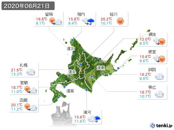 北海道地方(2020年06月21日の天気