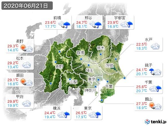 関東・甲信地方(2020年06月21日の天気