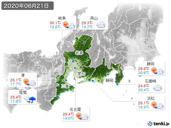 東海地方(2020年06月21日の天気
