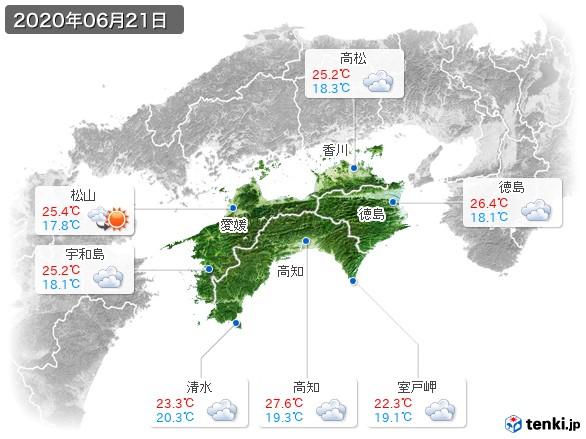 四国地方(2020年06月21日の天気