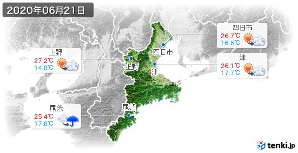 三重県(2020年06月21日の天気