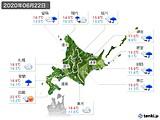 2020年06月22日の北海道地方の実況天気