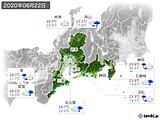 2020年06月22日の東海地方の実況天気