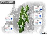 2020年06月22日の長野県の実況天気