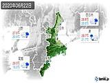2020年06月22日の三重県の実況天気