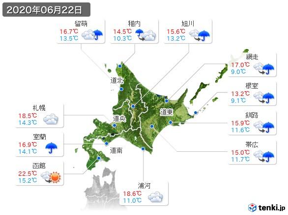北海道地方(2020年06月22日の天気