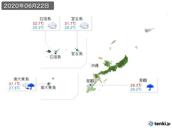 沖縄地方(2020年06月22日の天気