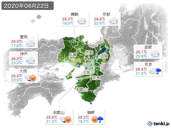 近畿地方(2020年06月22日の天気