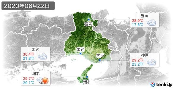 兵庫県(2020年06月22日の天気