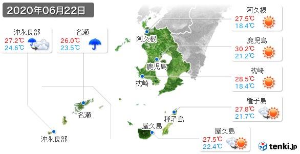 鹿児島県(2020年06月22日の天気