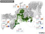 2020年06月23日の東海地方の実況天気