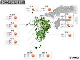 2020年06月23日の九州地方の実況天気