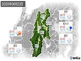 2020年06月23日の長野県の実況天気