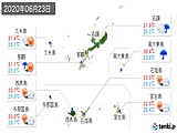 2020年06月23日の沖縄県の実況天気
