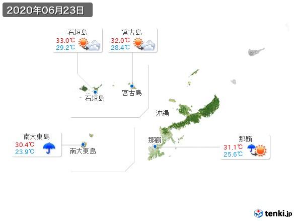 沖縄地方(2020年06月23日の天気