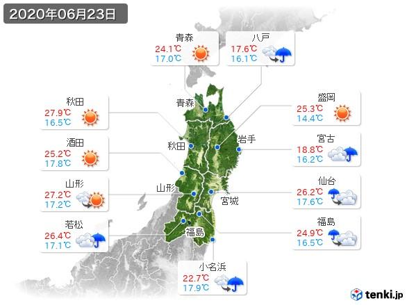 東北地方(2020年06月23日の天気
