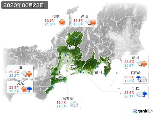 東海地方(2020年06月23日の天気
