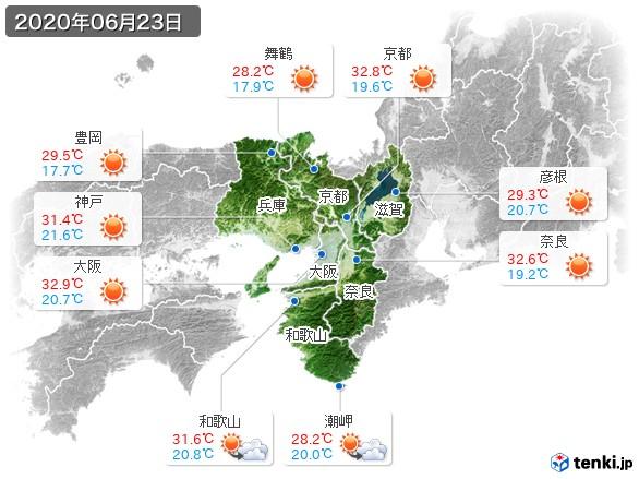 近畿地方(2020年06月23日の天気