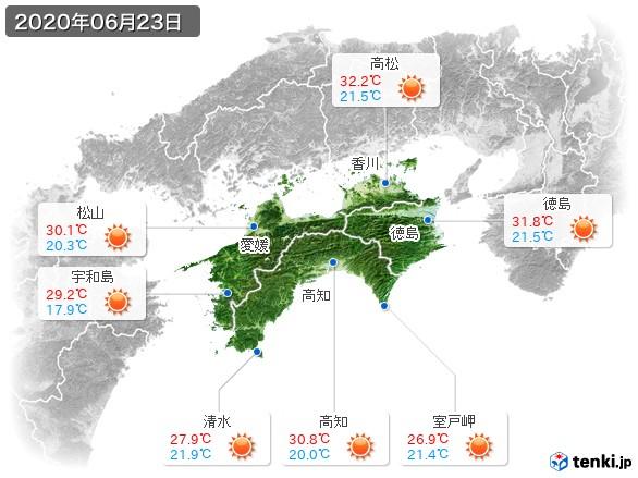 四国地方(2020年06月23日の天気