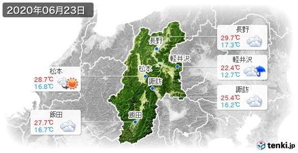長野県(2020年06月23日の天気