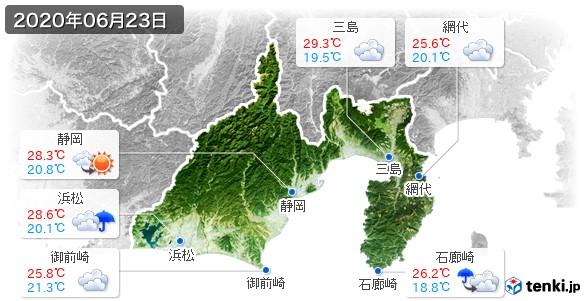 静岡県(2020年06月23日の天気