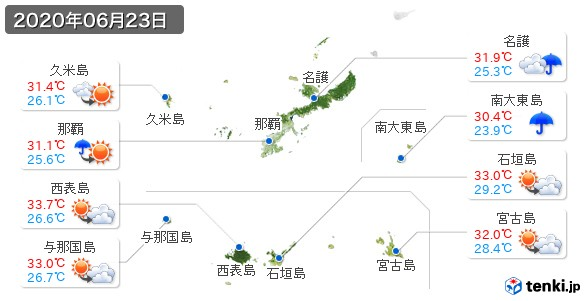 沖縄県(2020年06月23日の天気