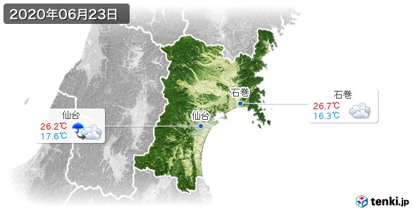 宮城県(2020年06月23日の天気