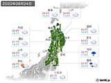 2020年06月24日の東北地方の実況天気