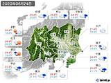 2020年06月24日の関東・甲信地方の実況天気
