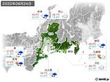 2020年06月24日の東海地方の実況天気