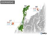 2020年06月24日の石川県の実況天気