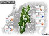 2020年06月24日の長野県の実況天気