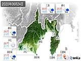 2020年06月24日の静岡県の実況天気